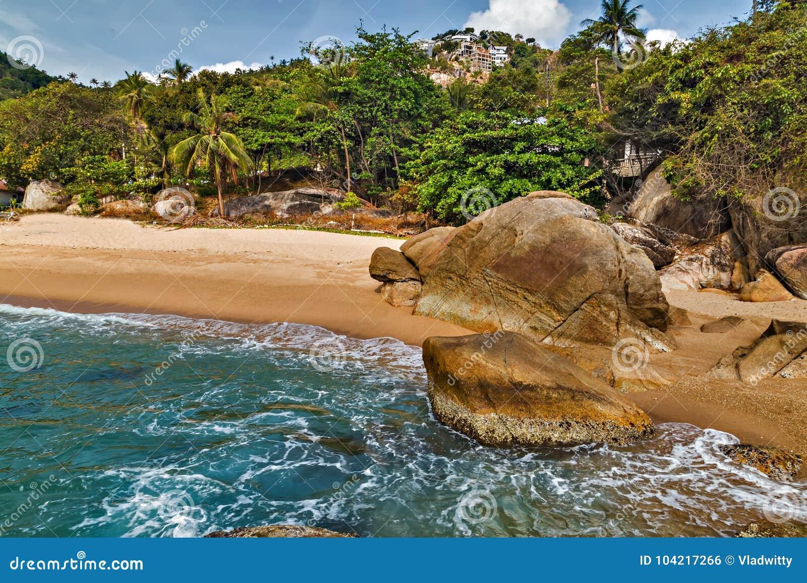 Tropischer Felsen Coral Cove-Strand mit KokosnussPalmen Koh Samu