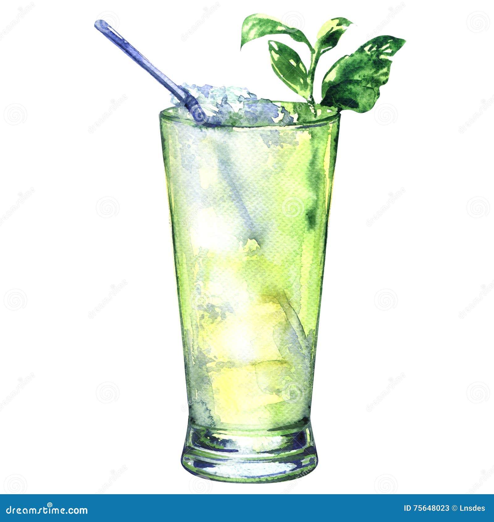 Tropischer grüner alkoholischer Cocktail witn Rum, Alkohol, lokalisiert, Aquarellillustration