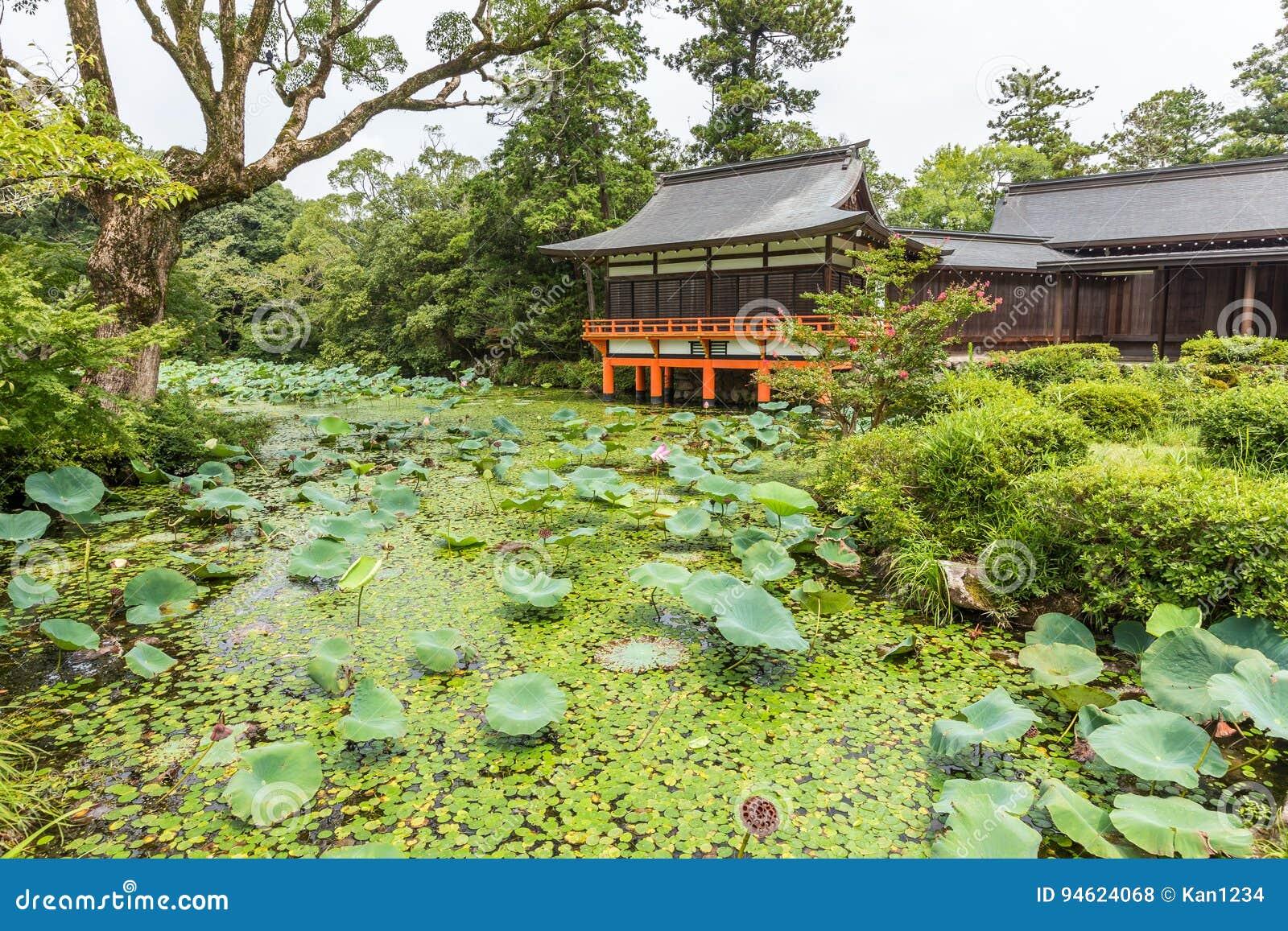 Tropischer Japanischer Garten Mit Kleinem Pool Und Rote Brücke In ...