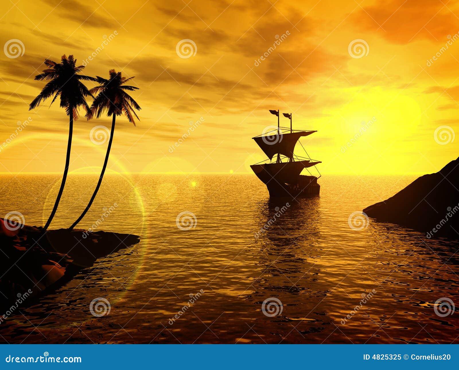 Tropischer Sonnenuntergang mit einer Lieferung