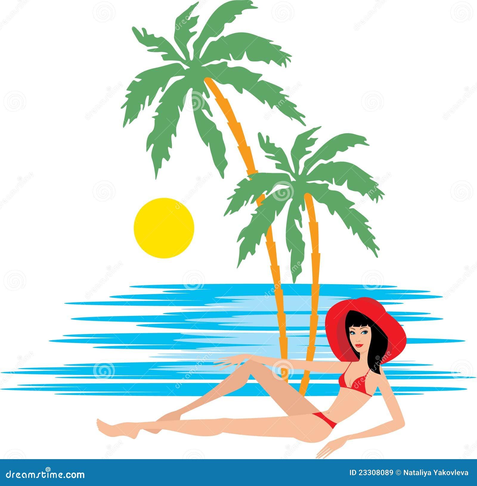 tropischer strand mit palmen und frau vektor abbildung bild 23308089. Black Bedroom Furniture Sets. Home Design Ideas