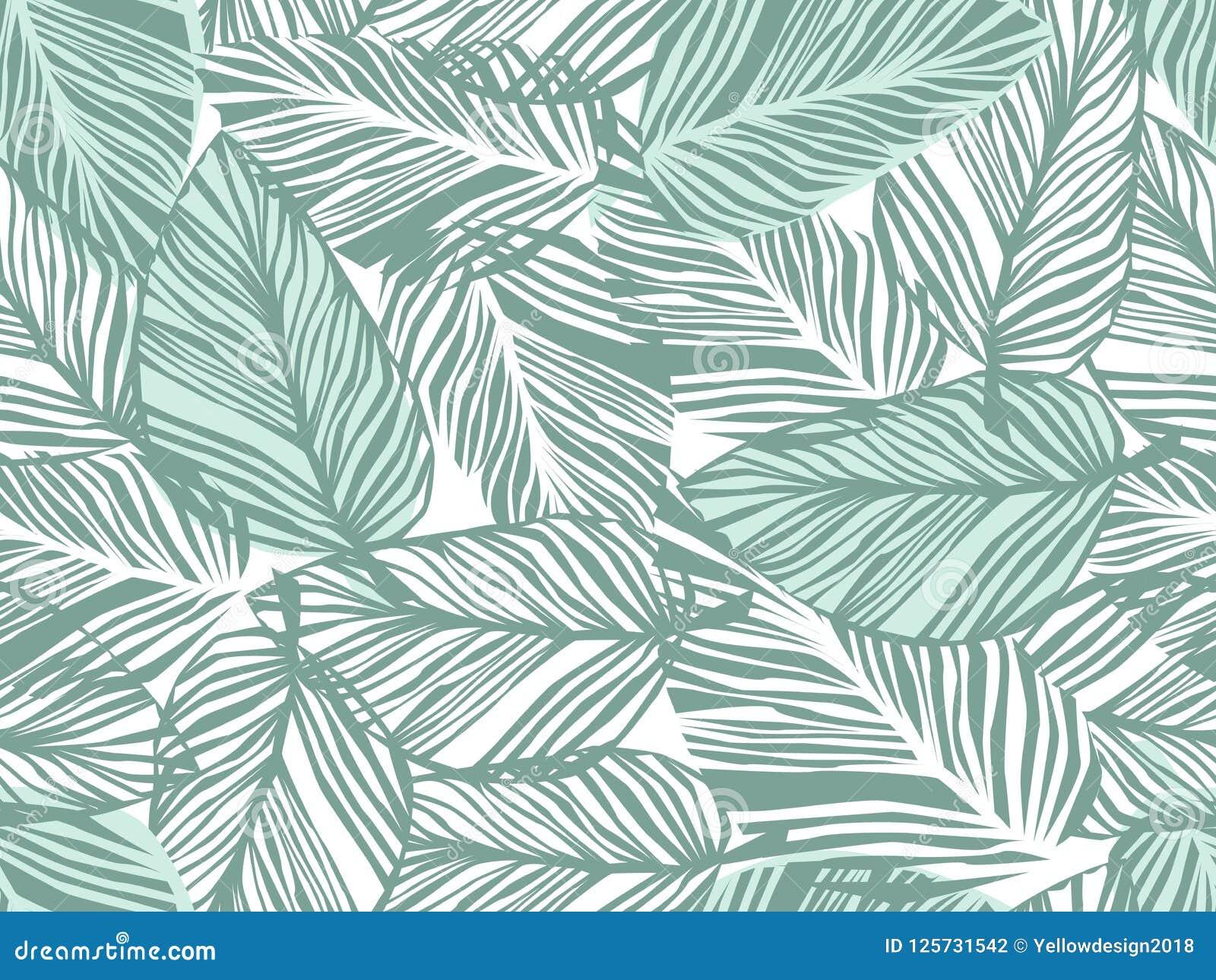 Tropisches Muster, Blumenhintergrund des nahtlosen Vektors der Palmblätter