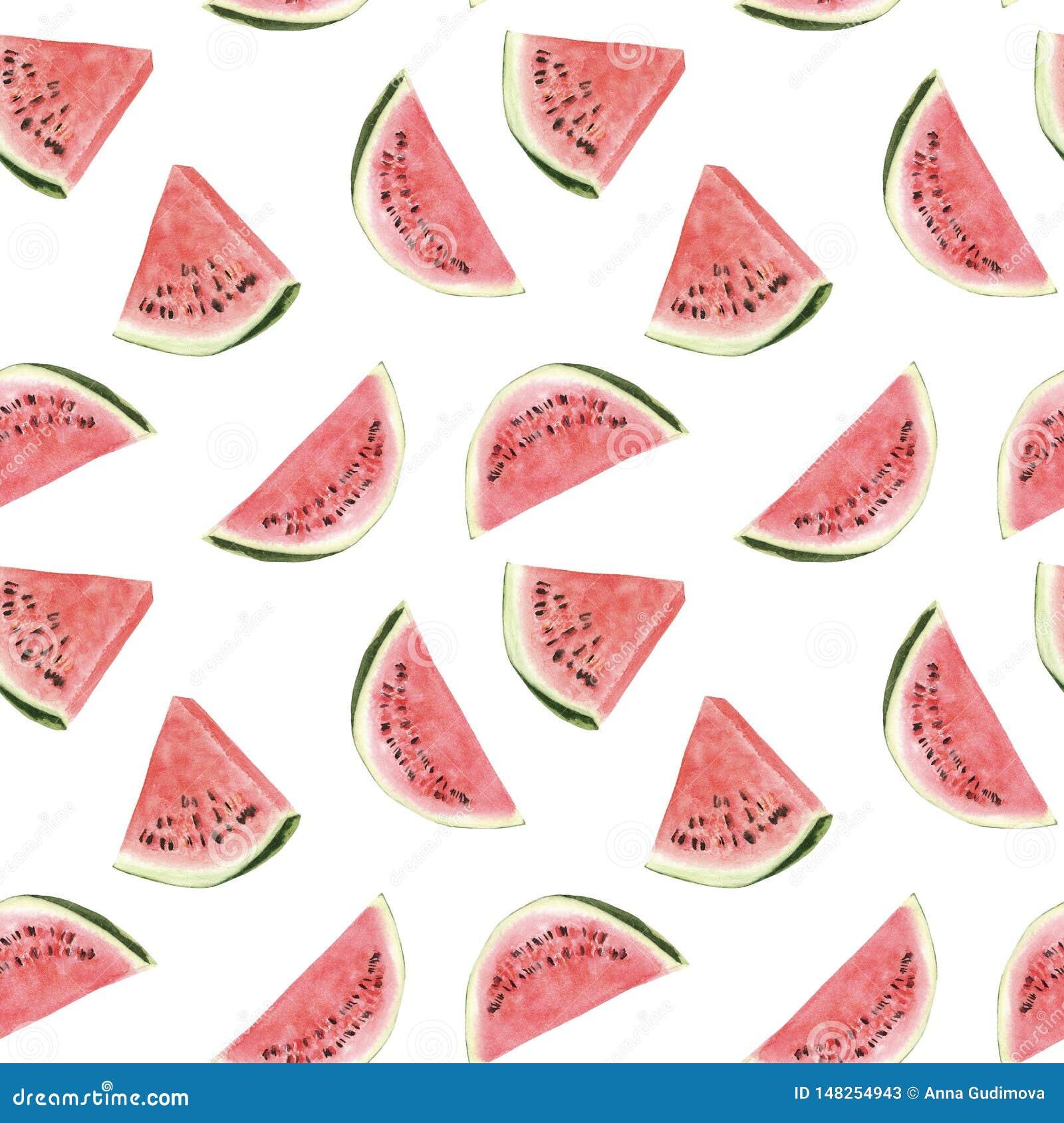 Tropisches Muster des nahtlosen Handgezogenen schönen Aquarells mit Wassermelone