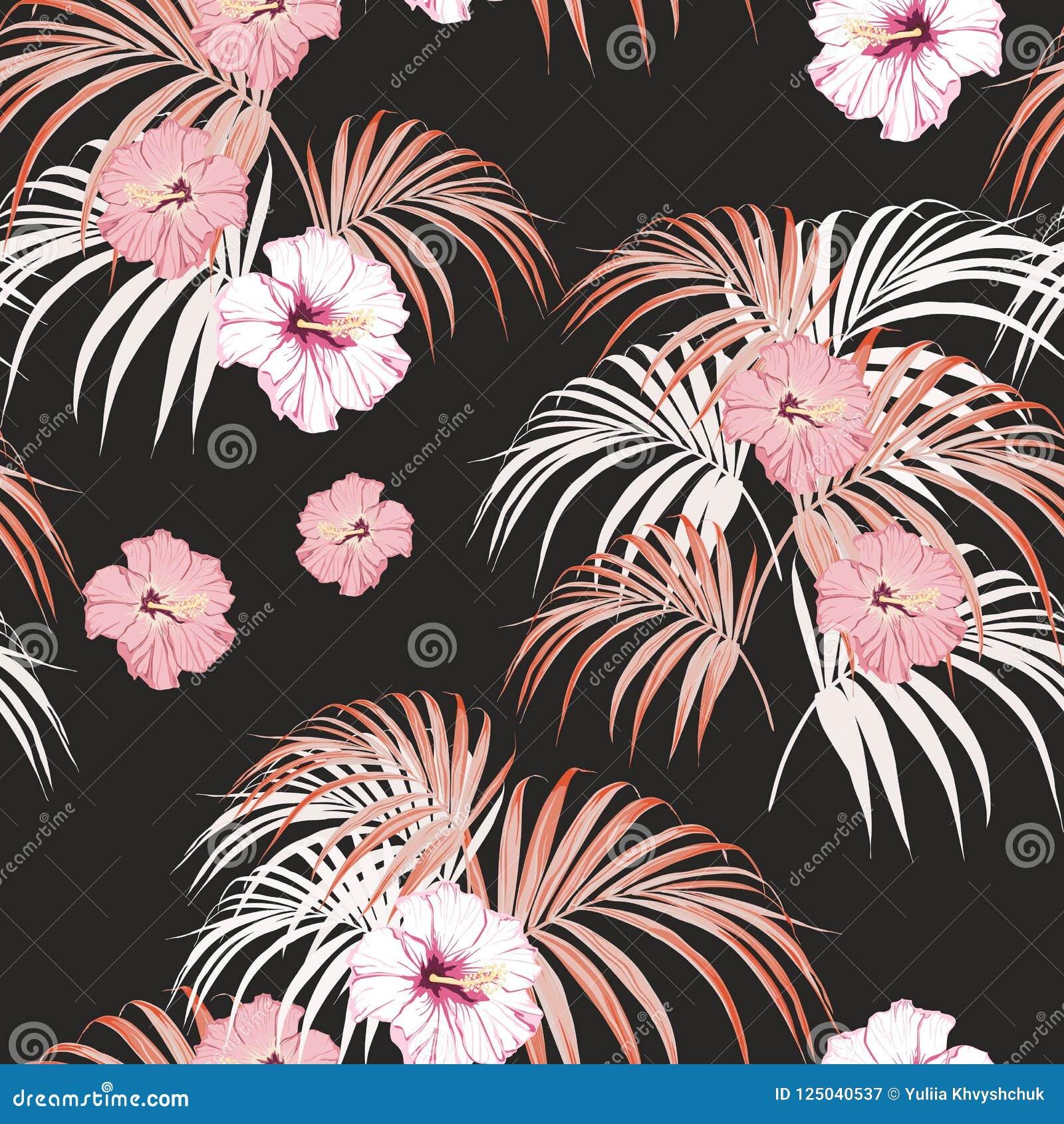 Tropisches Muster des nahtlosen Vektors mit hellen Palmblättern und tropischem rosa Hibiscus blüht auf schwarzem Hintergrund