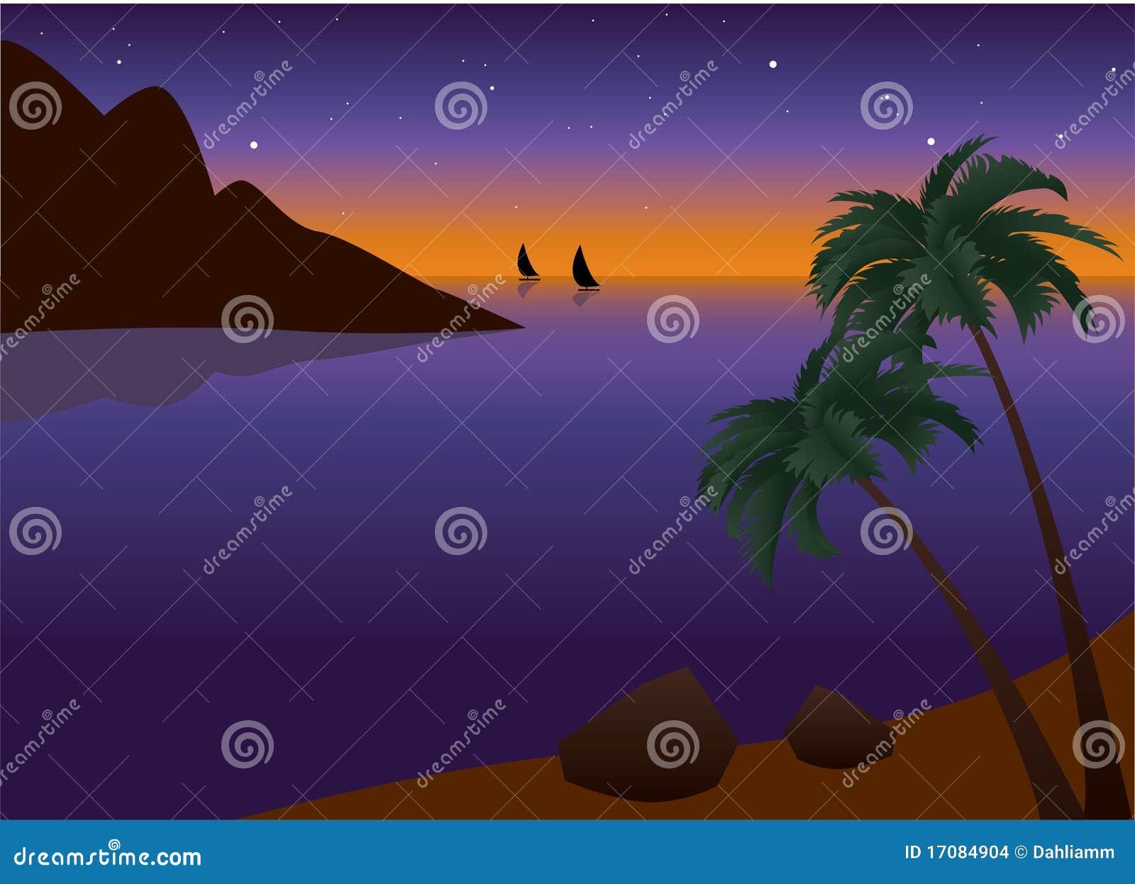 Tropisches Palm Beach am Sonnenuntergang