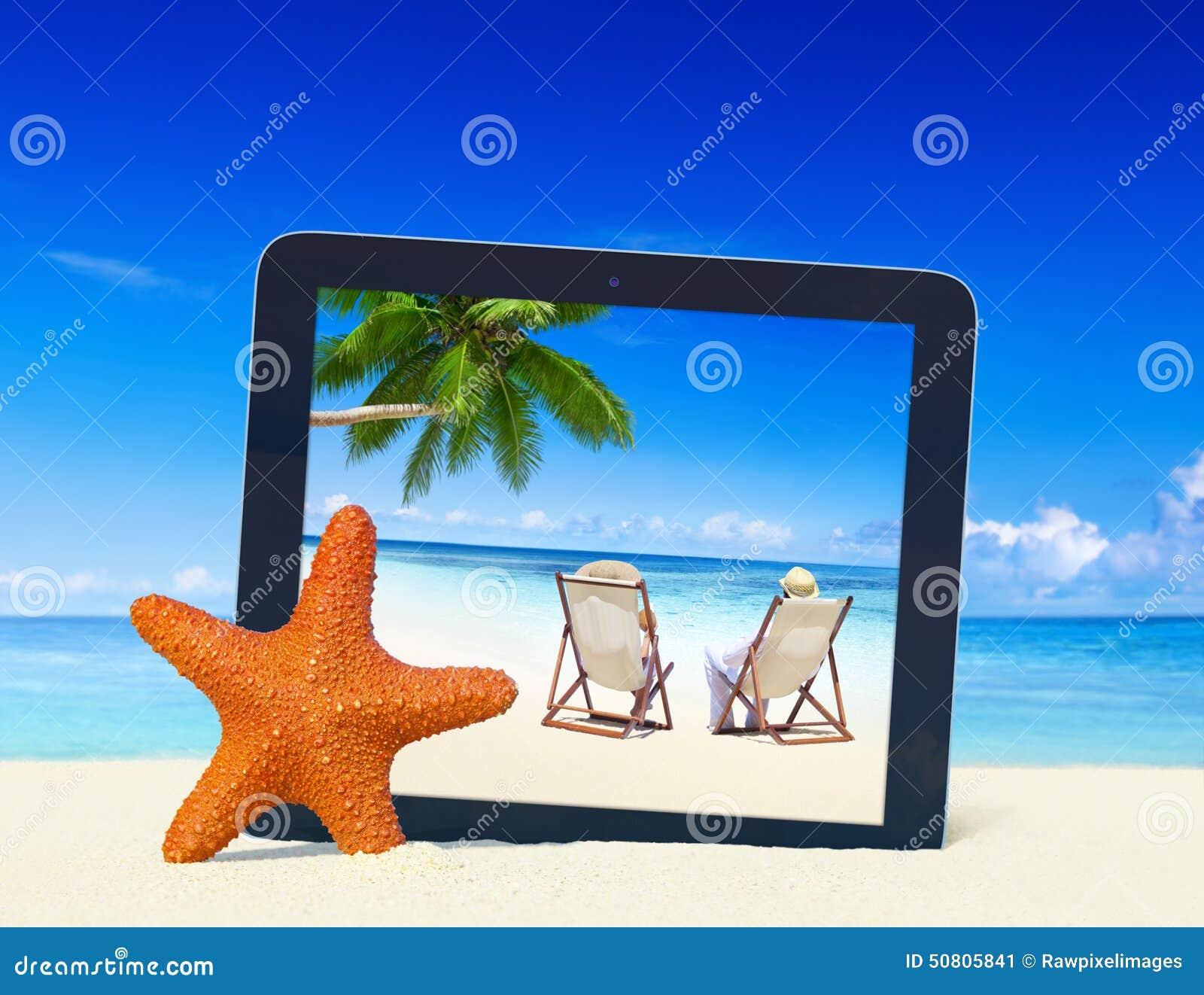 Tropisches Paradies-Sommer-Strand-Digital-Tablet-Rahmen-Konzept ...
