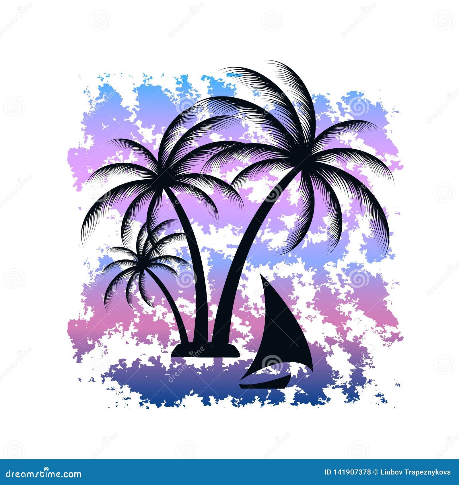 Tropisk ö tropisk liggande som bakgrund är blå, kan fartygfartyg klubba mörka etc T-tröjatryck med grungetextur