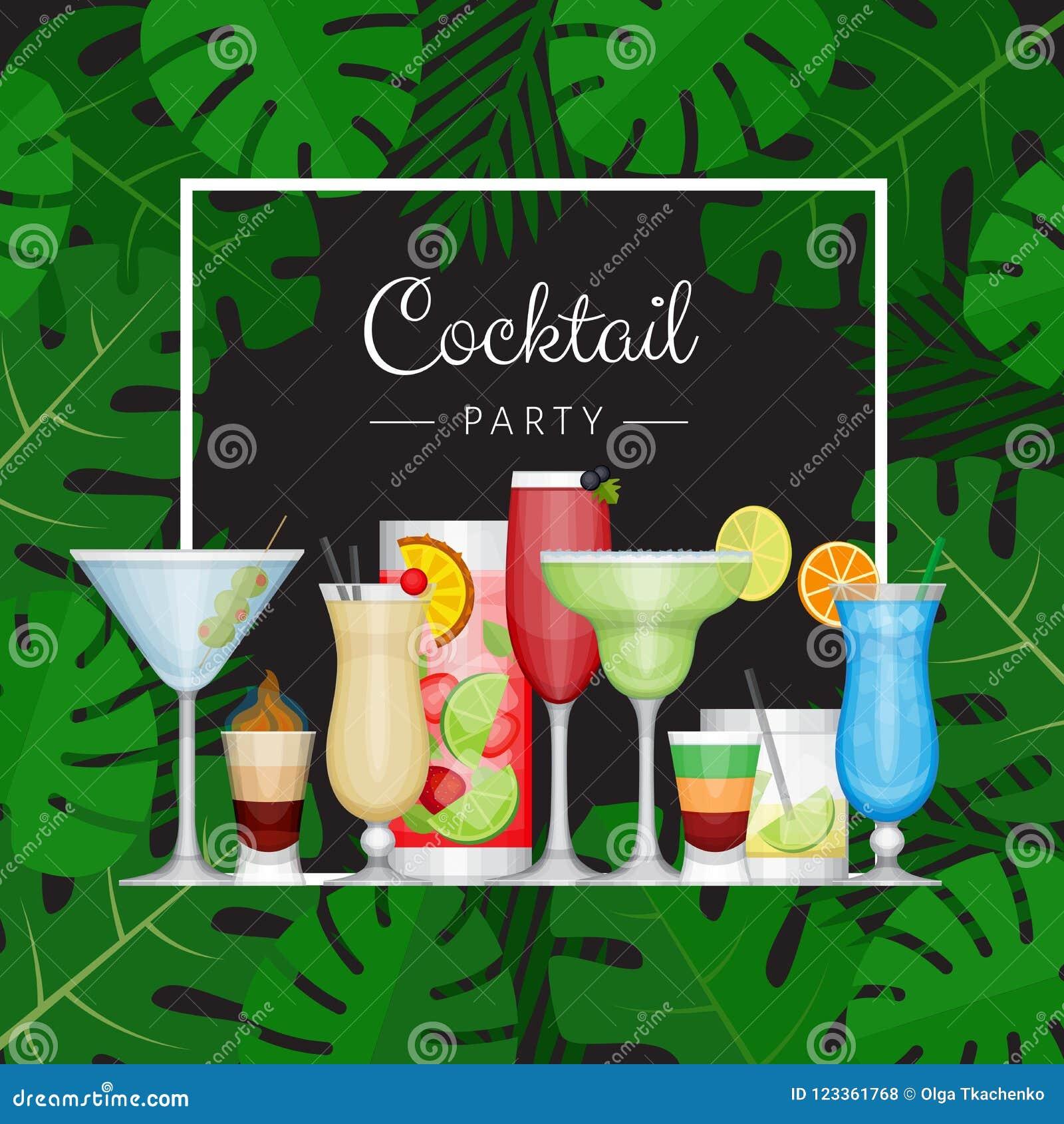 Tropisk coctail för sommar med palmblad Cocktailpartyaffisch