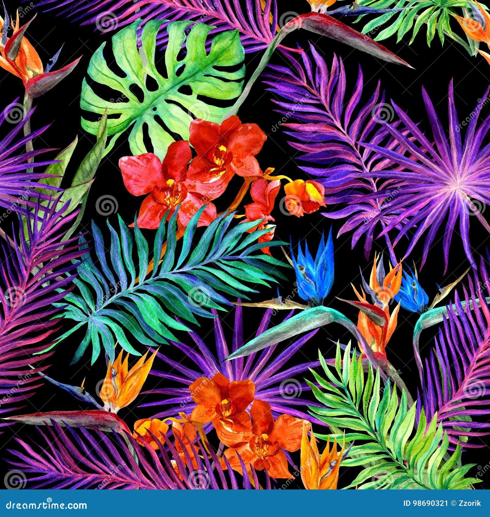 Tropisk design för mode: exotiska sidor, orkidé blommar i neonljus seamless modell vattenfärg