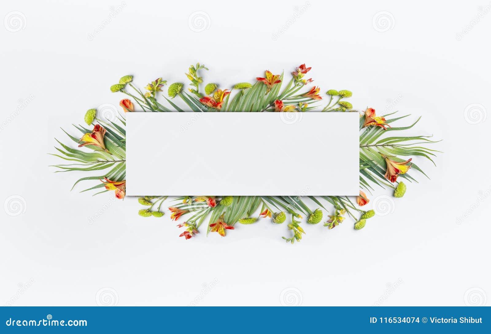 Tropisk idérik design för sommar med palmblad och exotiska blommor för baner eller reklamblad på vit