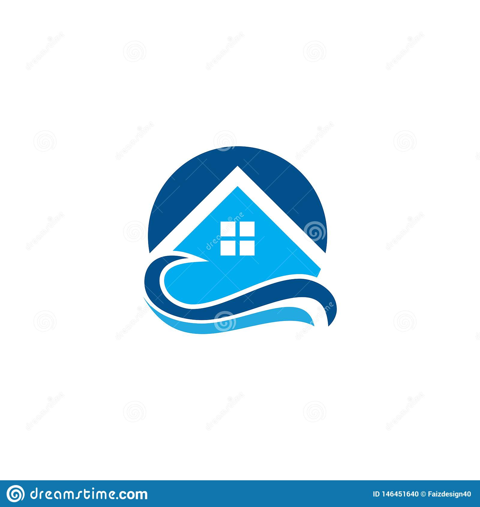 Tropisk logo för husvågsemesterort