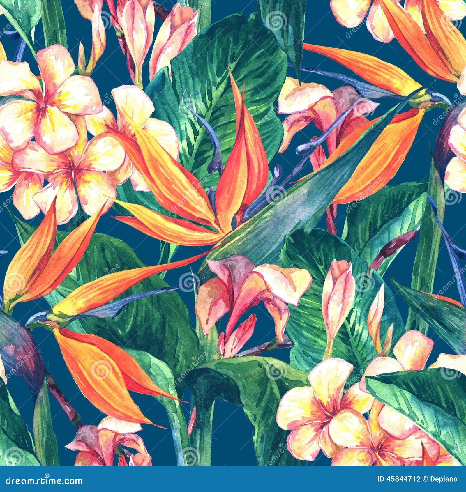 Tropisk sömlös modell med exotiska blommor