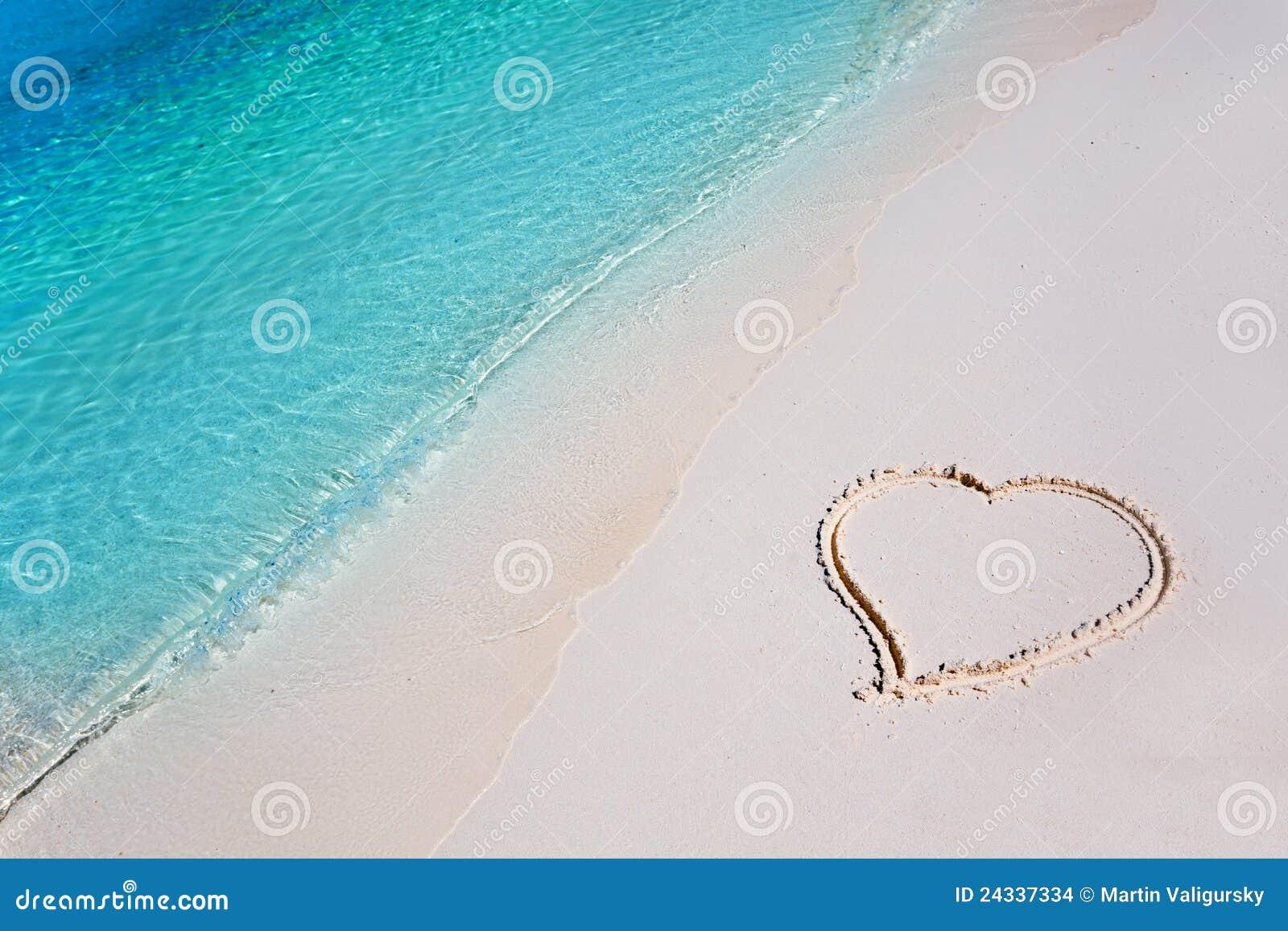 Tropisk sand för strandhjärtaparadis