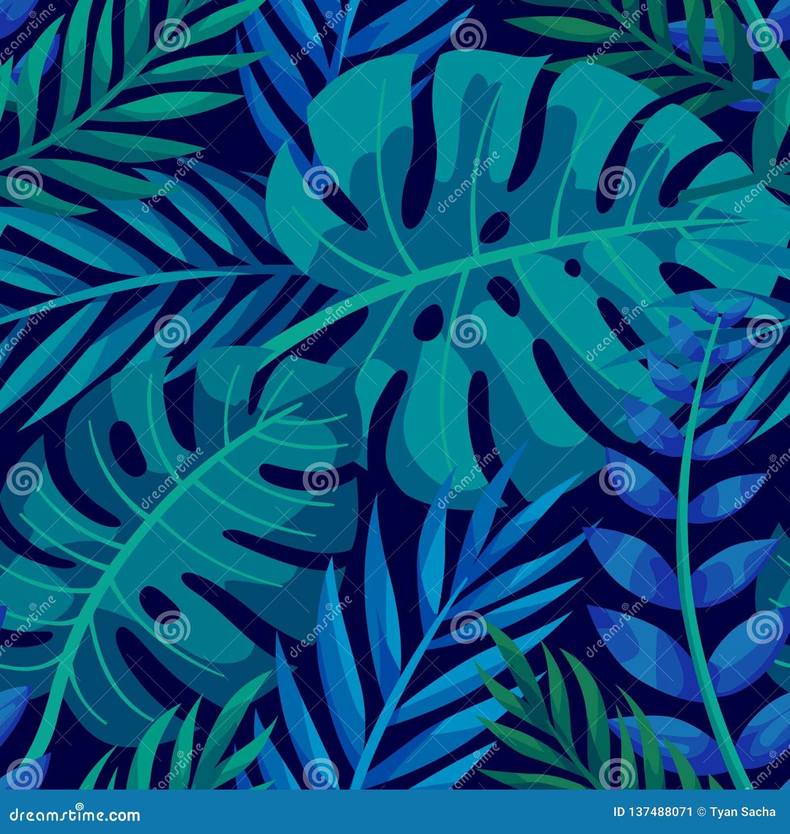 Tropisk vektorgräsplan lämnar den sömlösa modellen Exotisk tapet Gömma i handflatan med havet och träbrädet Tropisk djungellövver