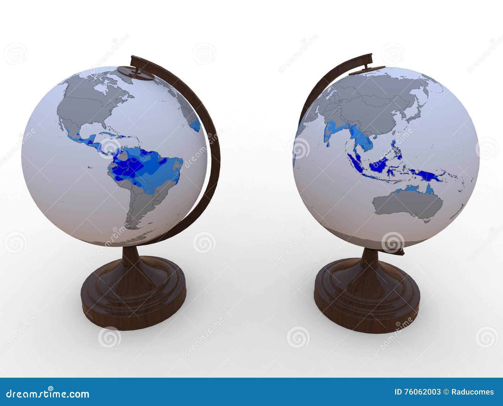 Tropiska områden för jord