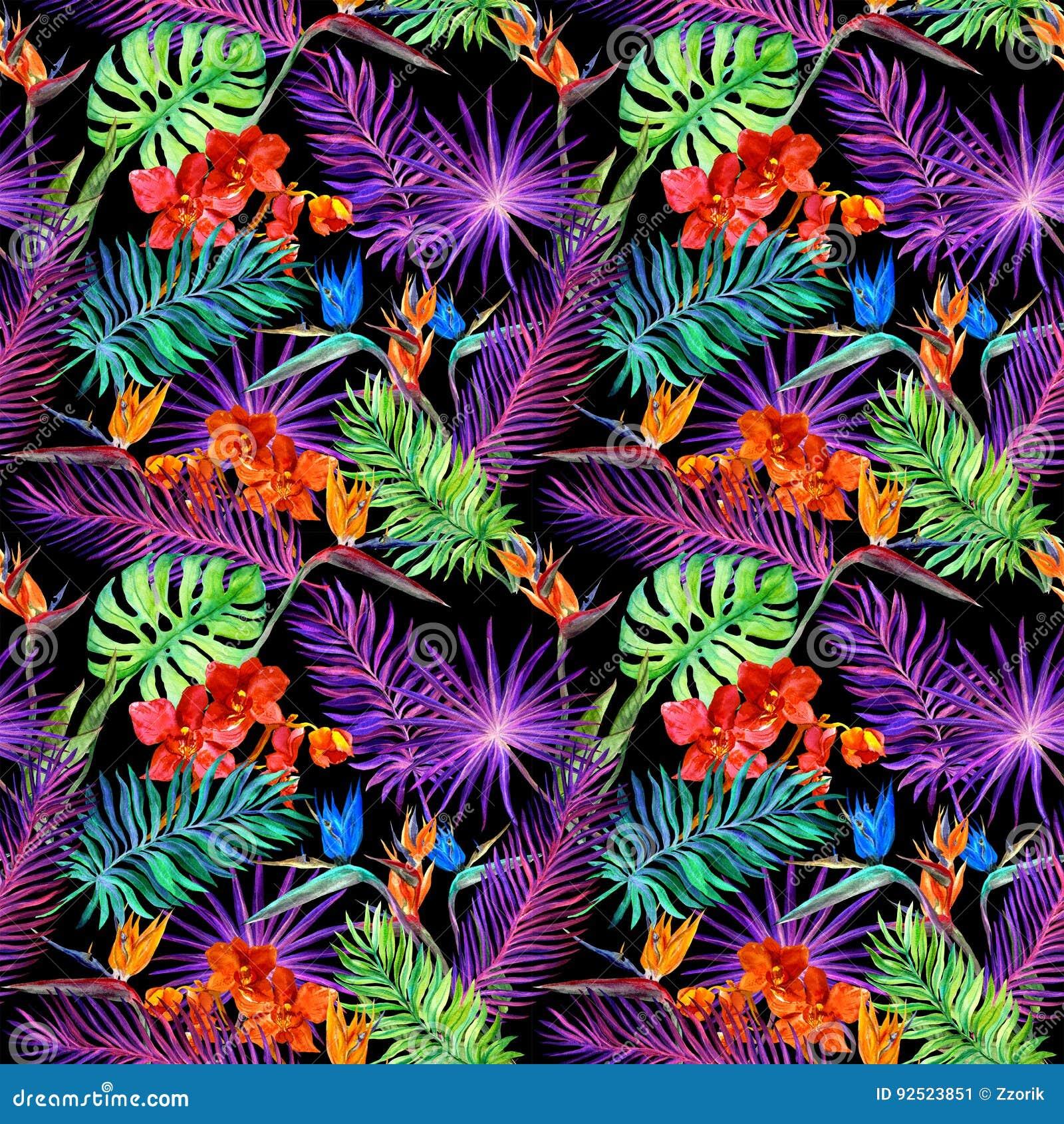 Tropiska sidor, exotiska blommor i neon glöder Upprepa den hawaianska modellen vattenfärg