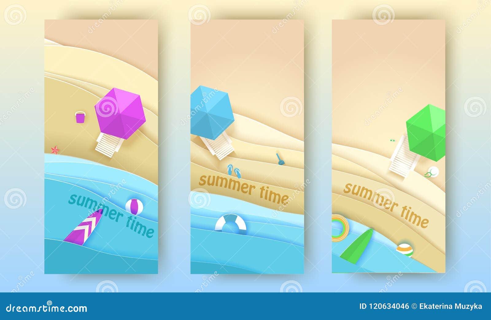 Tropiska strandbaner ställde in i pappers- konststil Illustration för snitt för papper för bästa sikt för vektor Affisch för begr