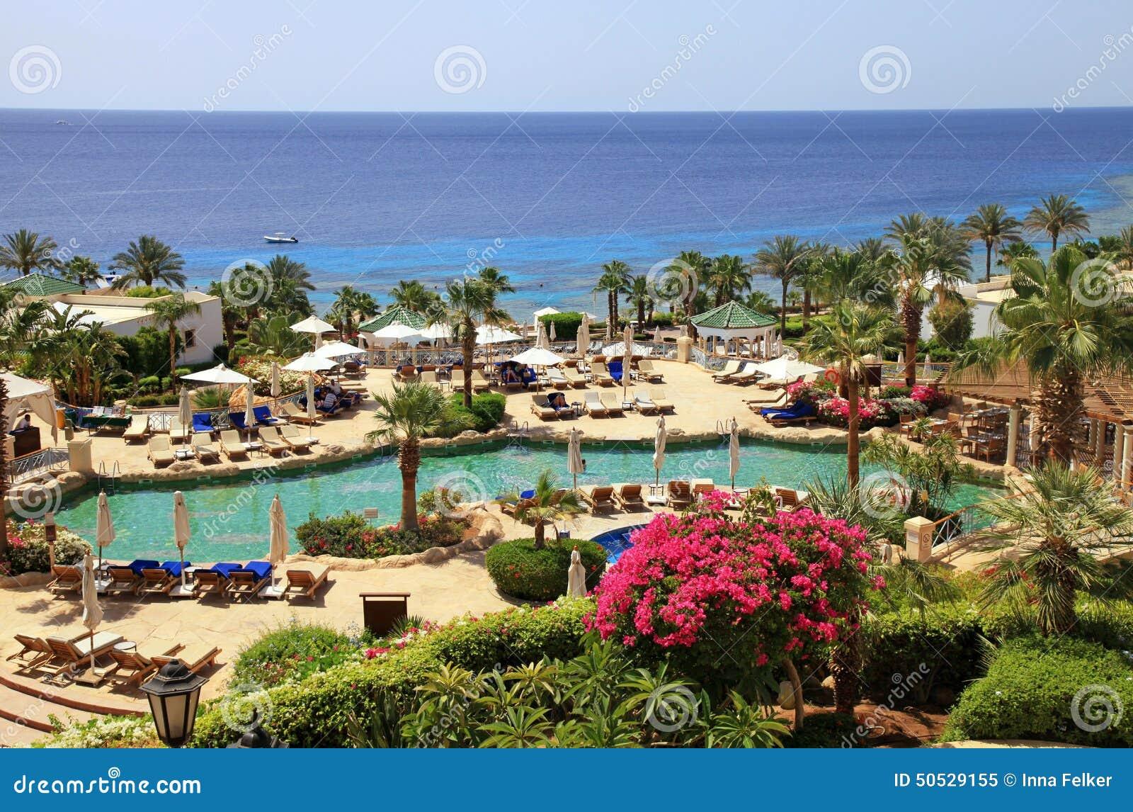 Tropiskt hotell för lyxig semesterort på Röda havetstranden, Sharm el Sheikh,