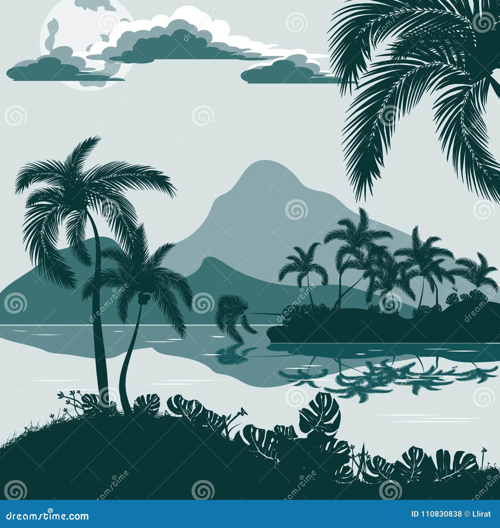 Tropiskt landskap, sikt från kusten med palmträd och växter, ö och berg i avståndet