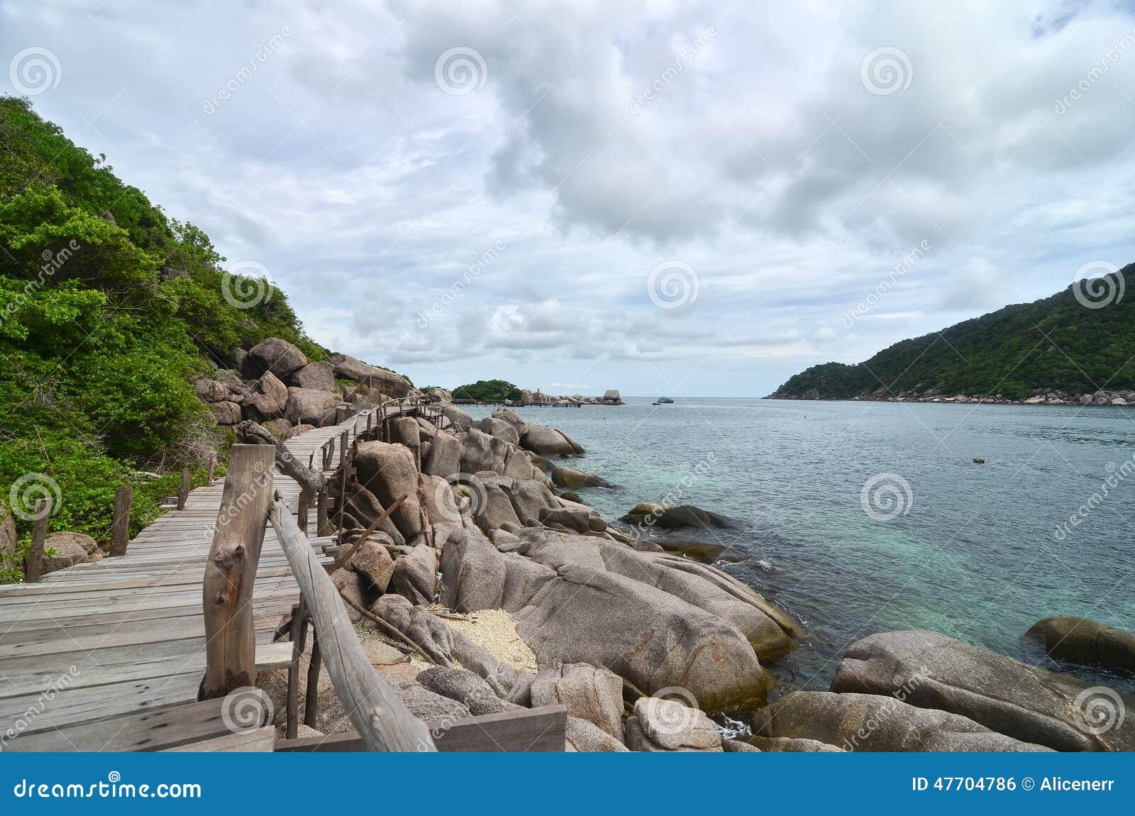 Tropiskt paradis - träbana längs sjösidan på ett litet