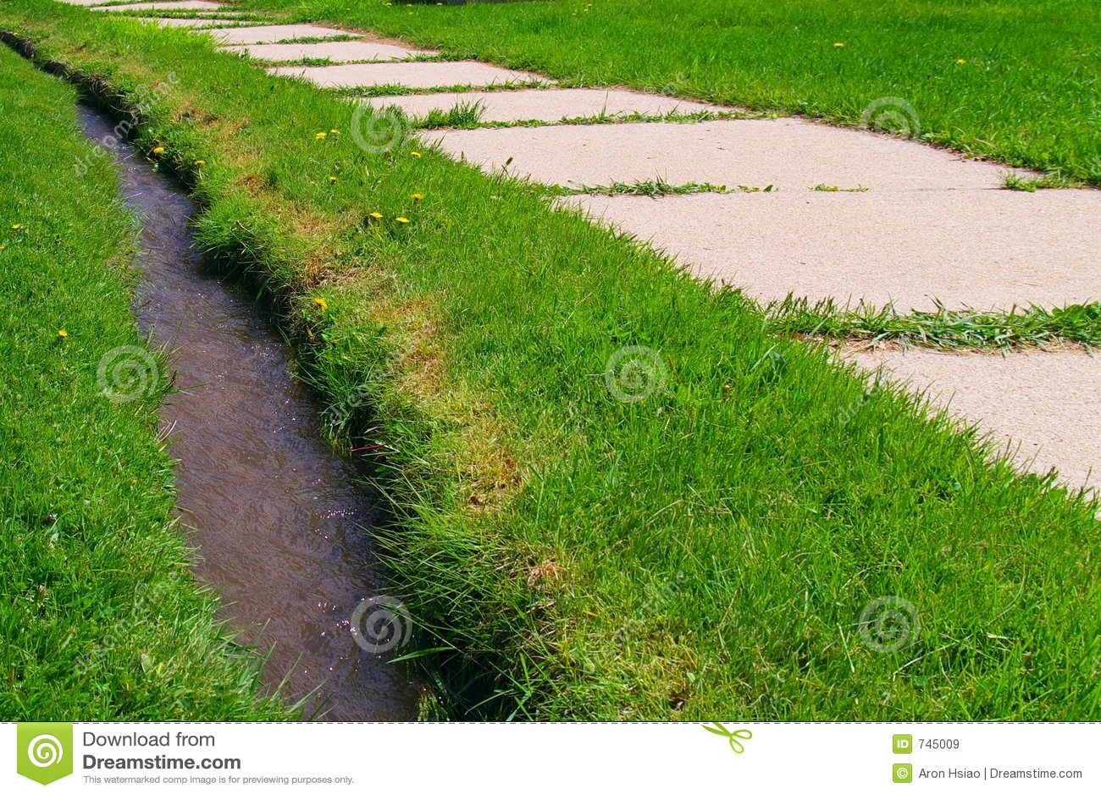 Trottoir et fossé dans l herbe