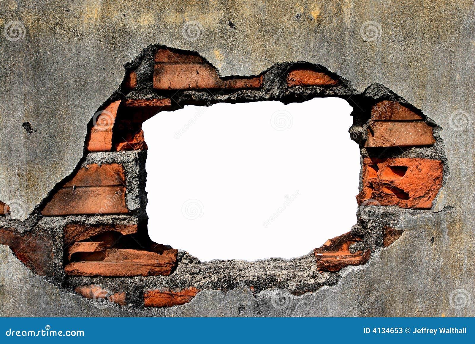 Trou dans le mur photos stock image 4134653 - Reboucher des trous dans un mur ...