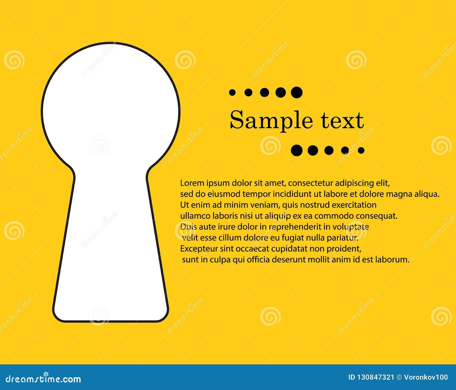 Trou de la serrure avec l espace pour le texte Le concept d information secrète et privée, ouverture privée d accès avec la clé d