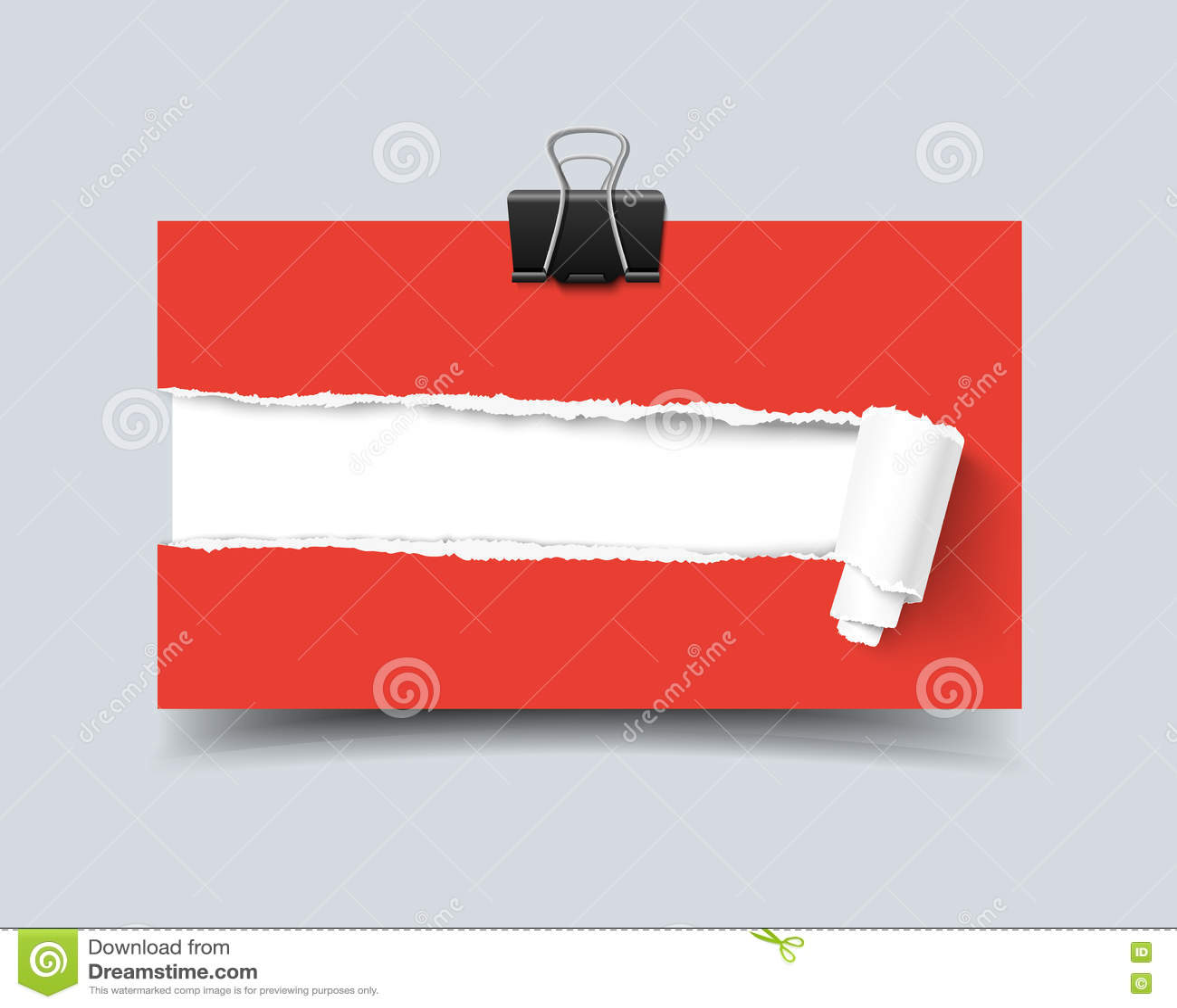 Carte De Visite Professionnelle Realiste Calibre Vecteur Avec Le Trou Dans Les Bords Dechires Par Papier Et Trombone Petit Pain