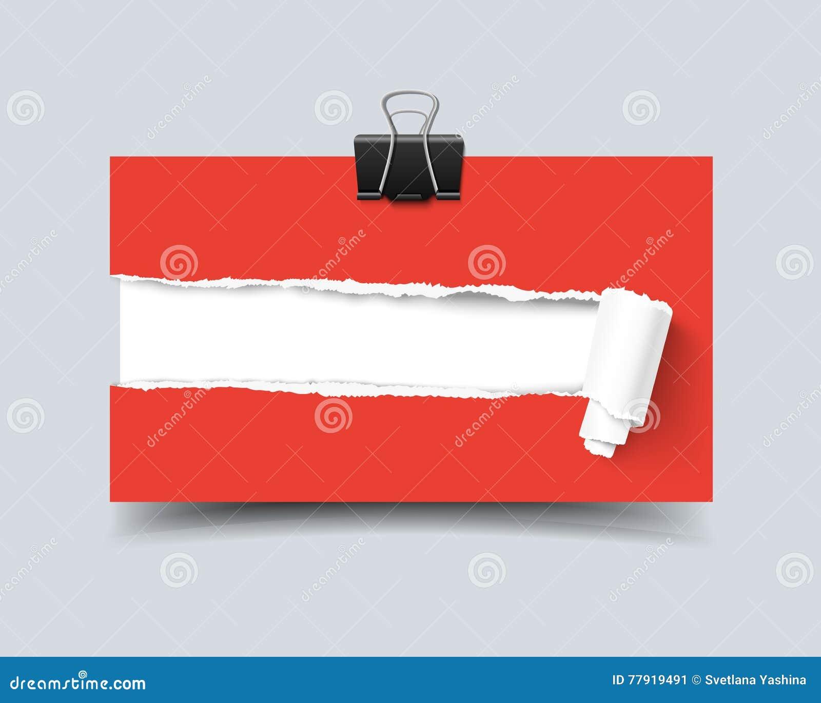 Trou Raliste De Carte Visite Professionnelle Calibre En Papier Avec Les Bords