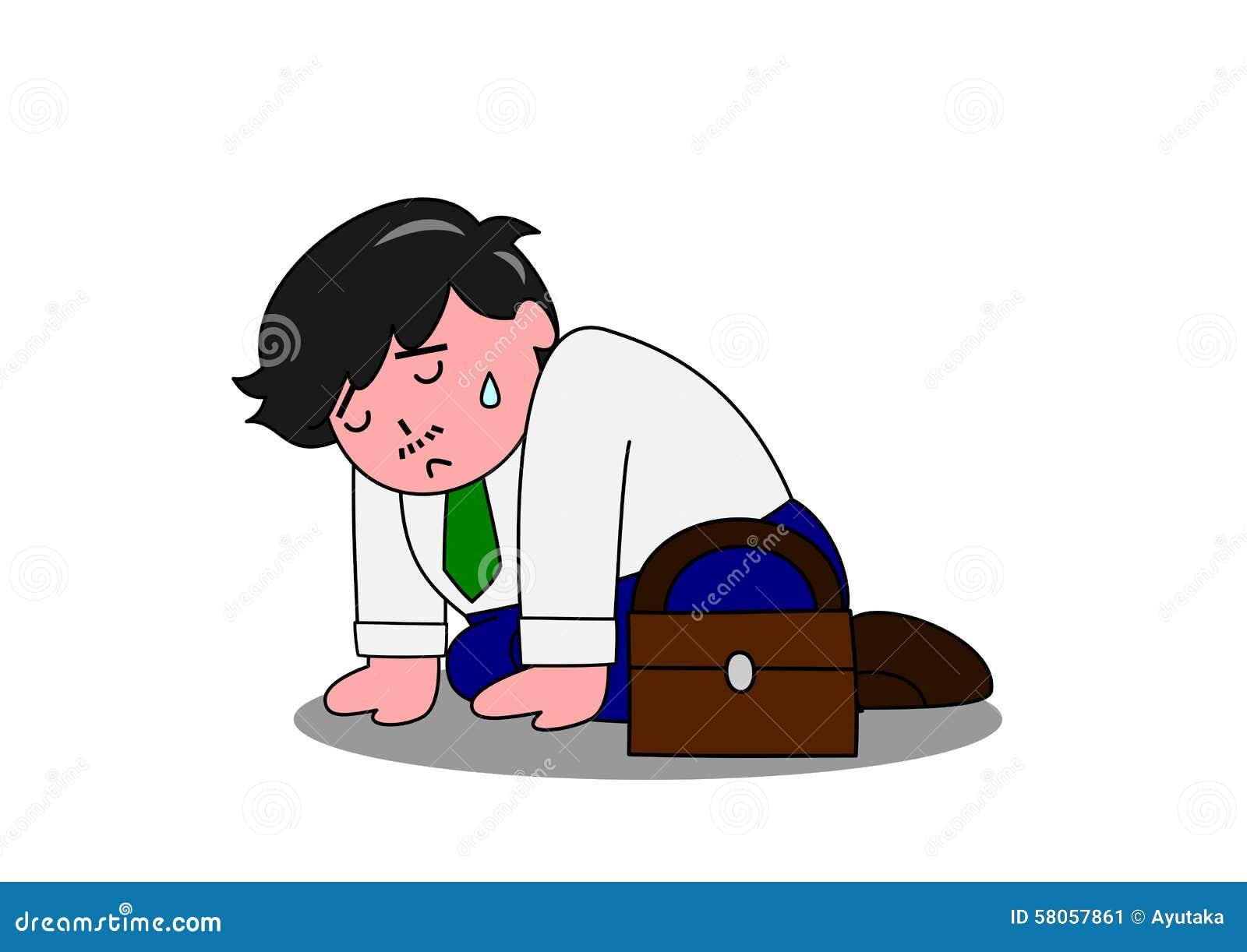Troubled Man Kneeling Down Stock Vector Image 58057861