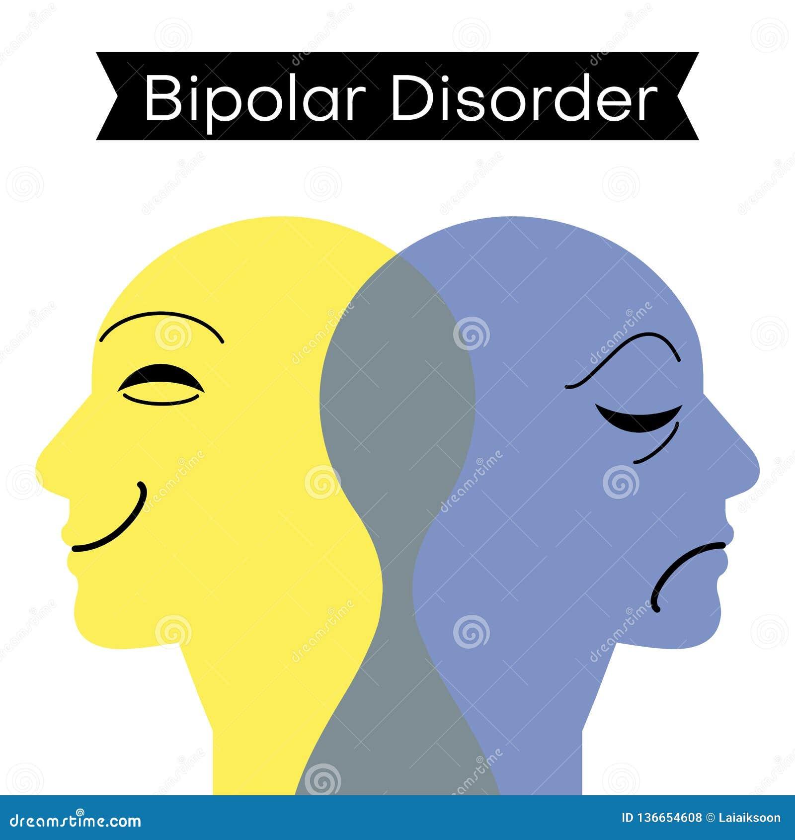 Troubles affectifs Double personnalité Esprit de trouble bipolaire mental Double concept de personnalité