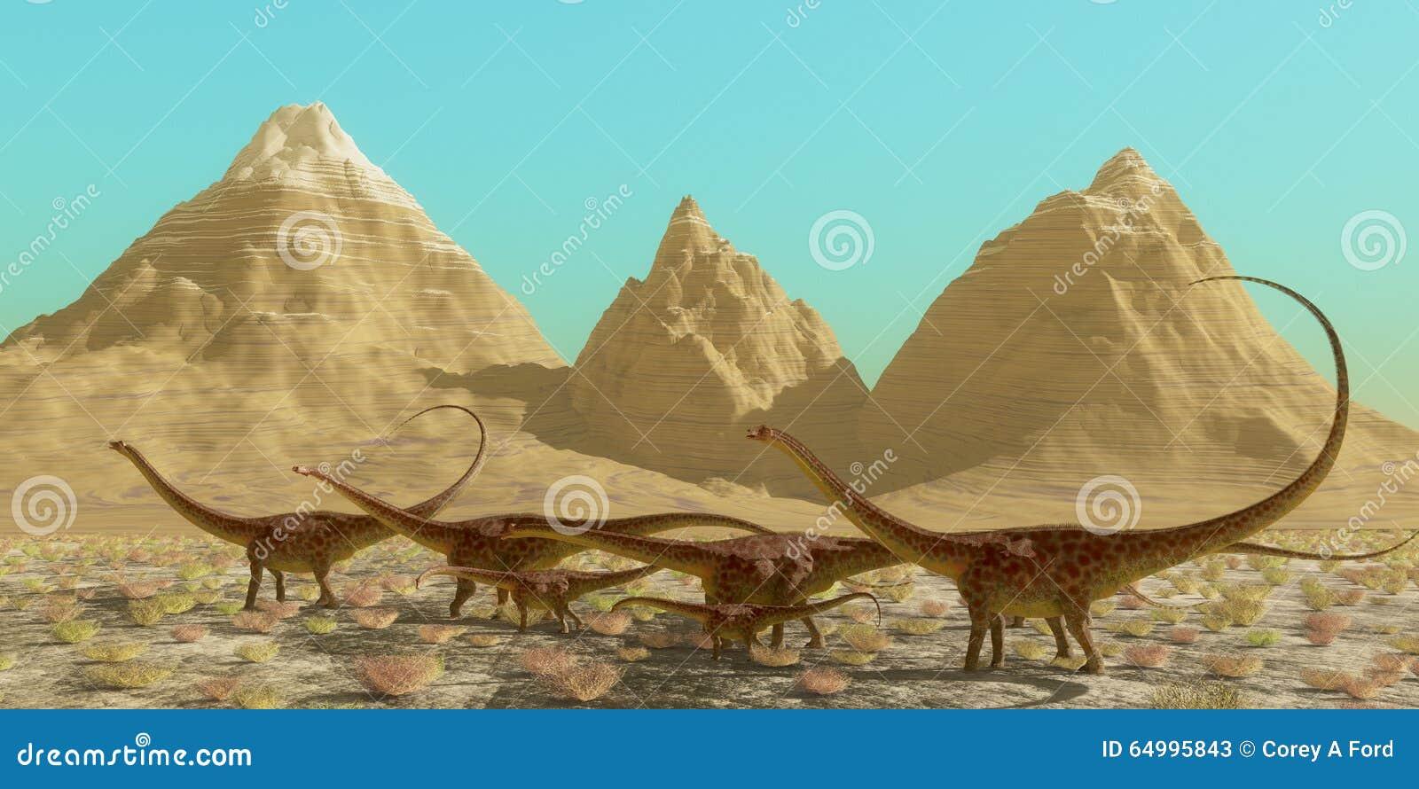 troupeau de dinosaure de diplodocus
