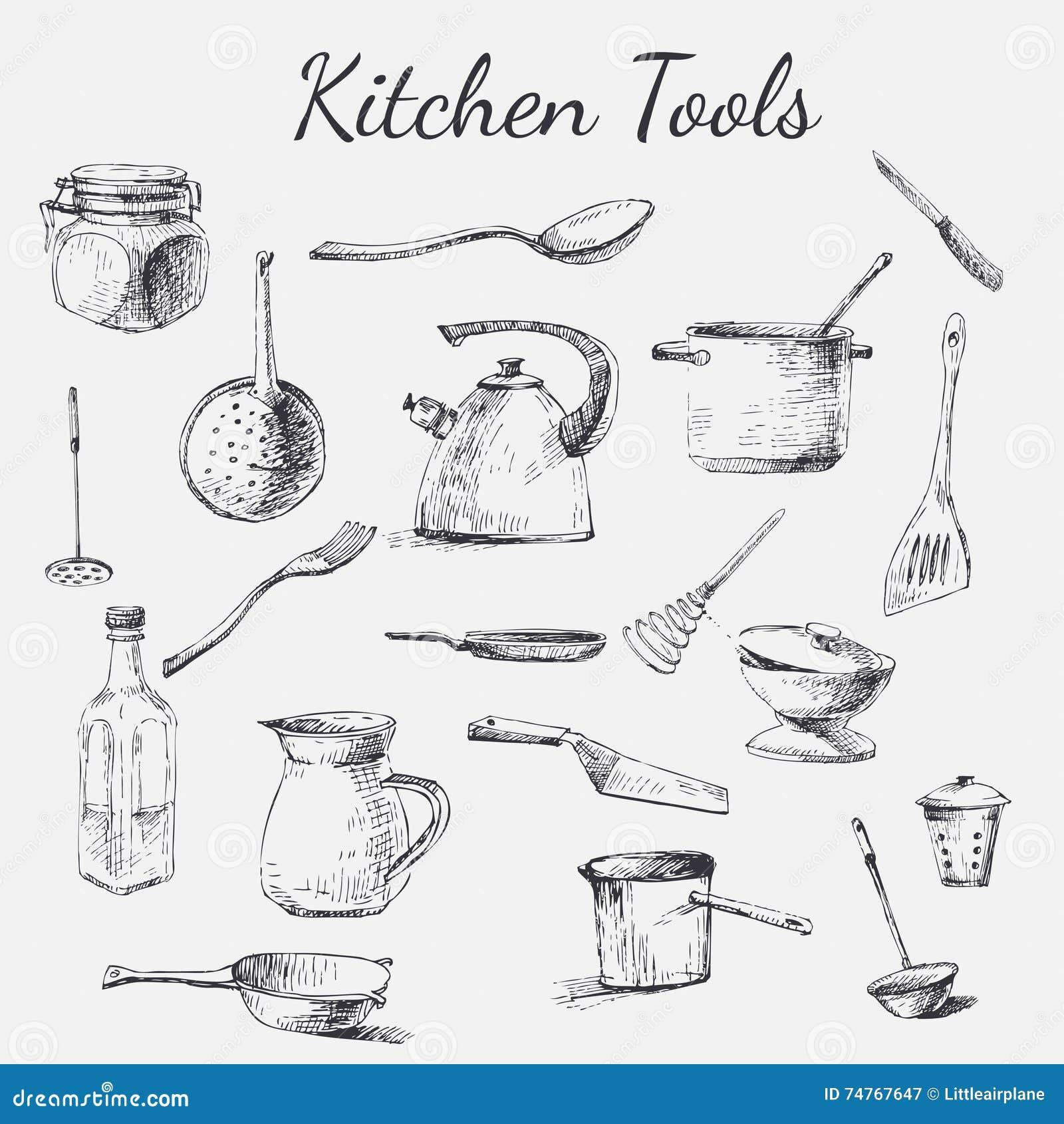 Trousse d 39 outils de cuisine illustration de vecteur illustration du cuvette choc 74767647 - Outil de cuisine liste ...