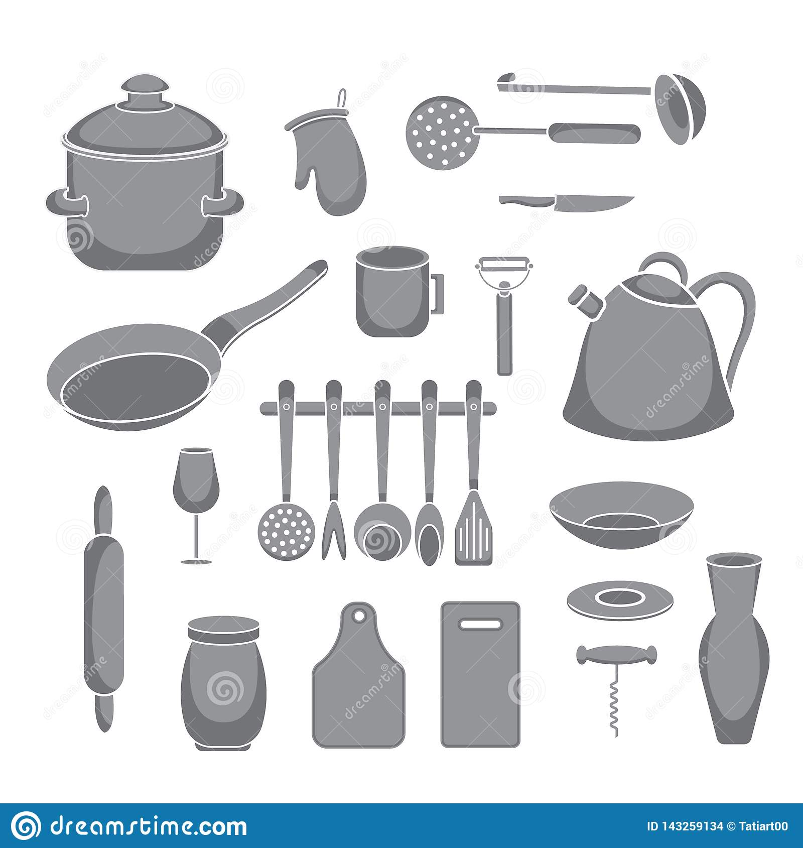Trousse D Outils De Cuisine De Vecteur Collection De Vaisselle De