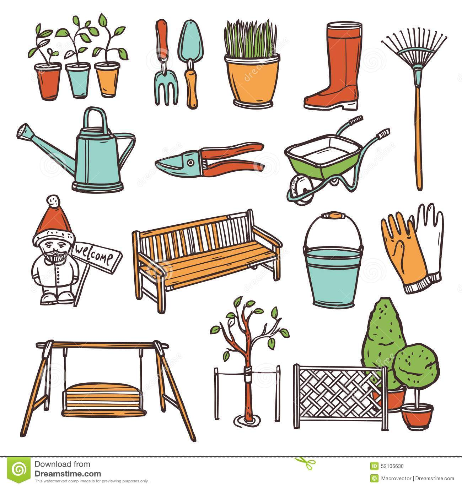Trousse d 39 outils de jardinage illustration de vecteur for Dessin outils jardinage