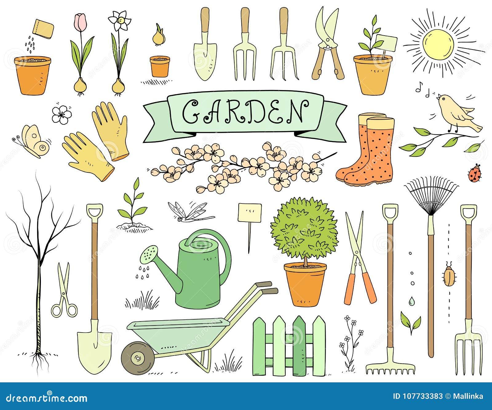 Trousse D\'outils Tirée Par La Main Colorée De Jardin Illustration de ...