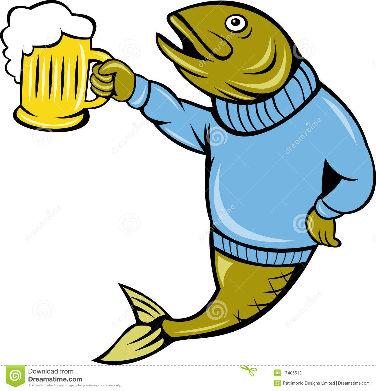 ... Trout fish wearing sweater holding a beer mug isolated on white