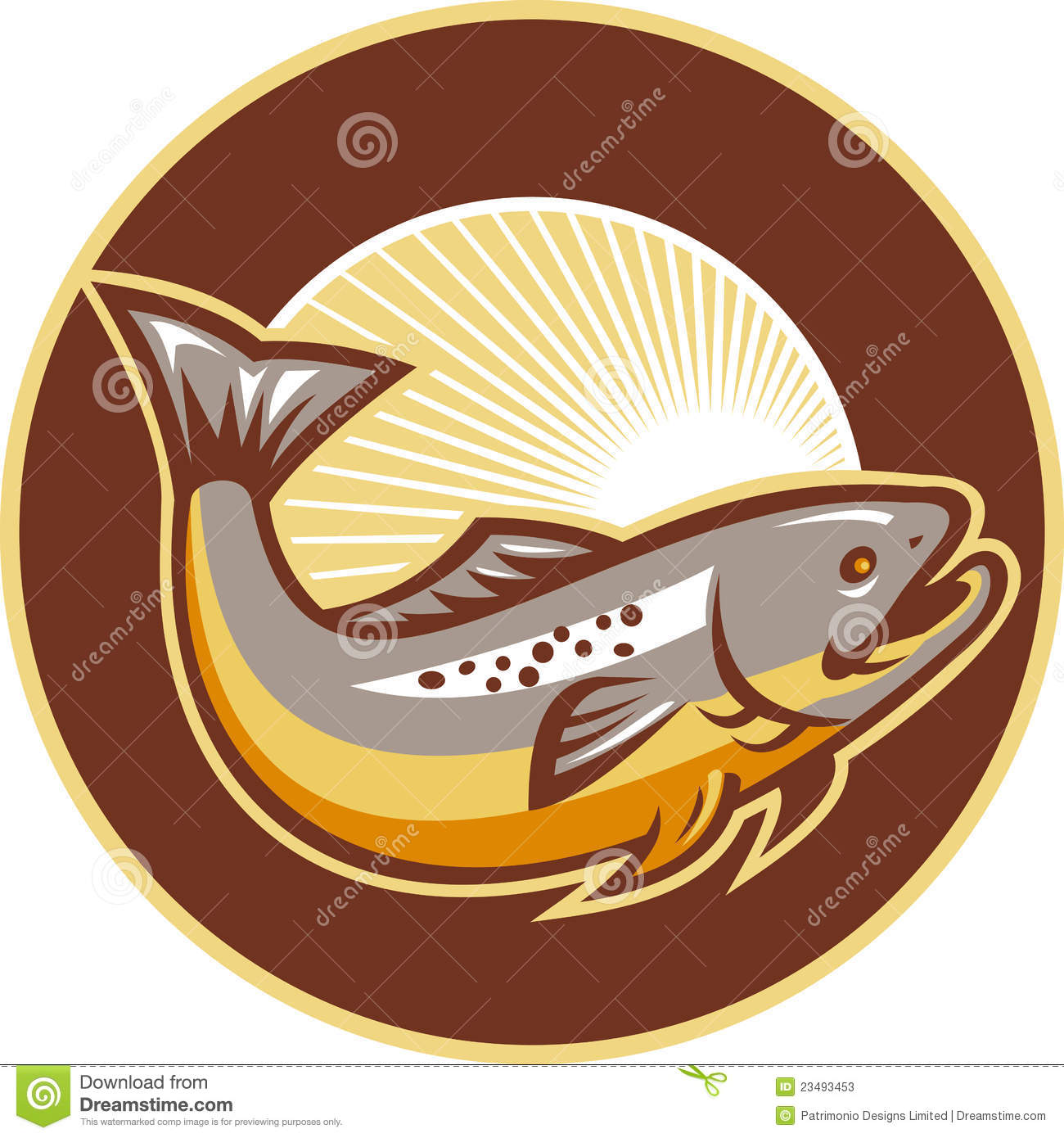 Download Trout Fish Jumping Sunburst Circle Stock Vector - Illustration of freshwater, life: 23493453