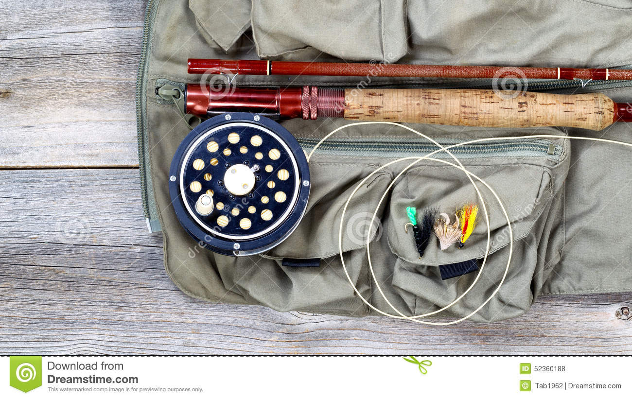 Trout fishing gear on fishing vest stock photo image of for Fly fishing equipment