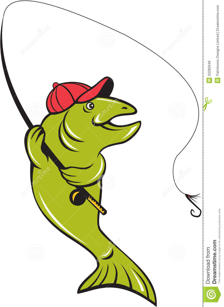 trout fly fishing rod hook cartoon stock vector image 50282949