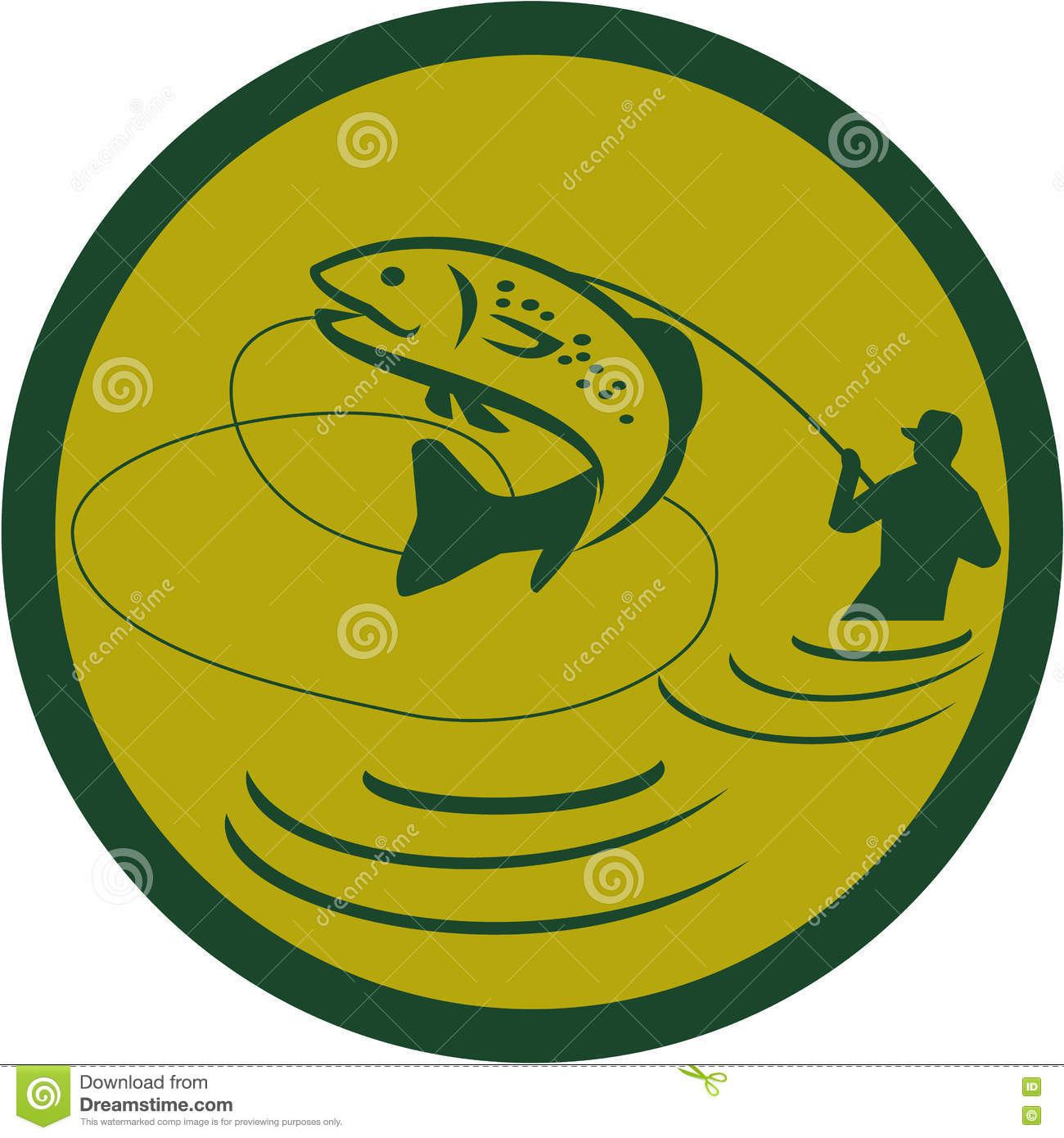 Download Trout Jumping Fly Fisherman Circle Retro Stock Vector - Illustration of illustration, marine: 75475108