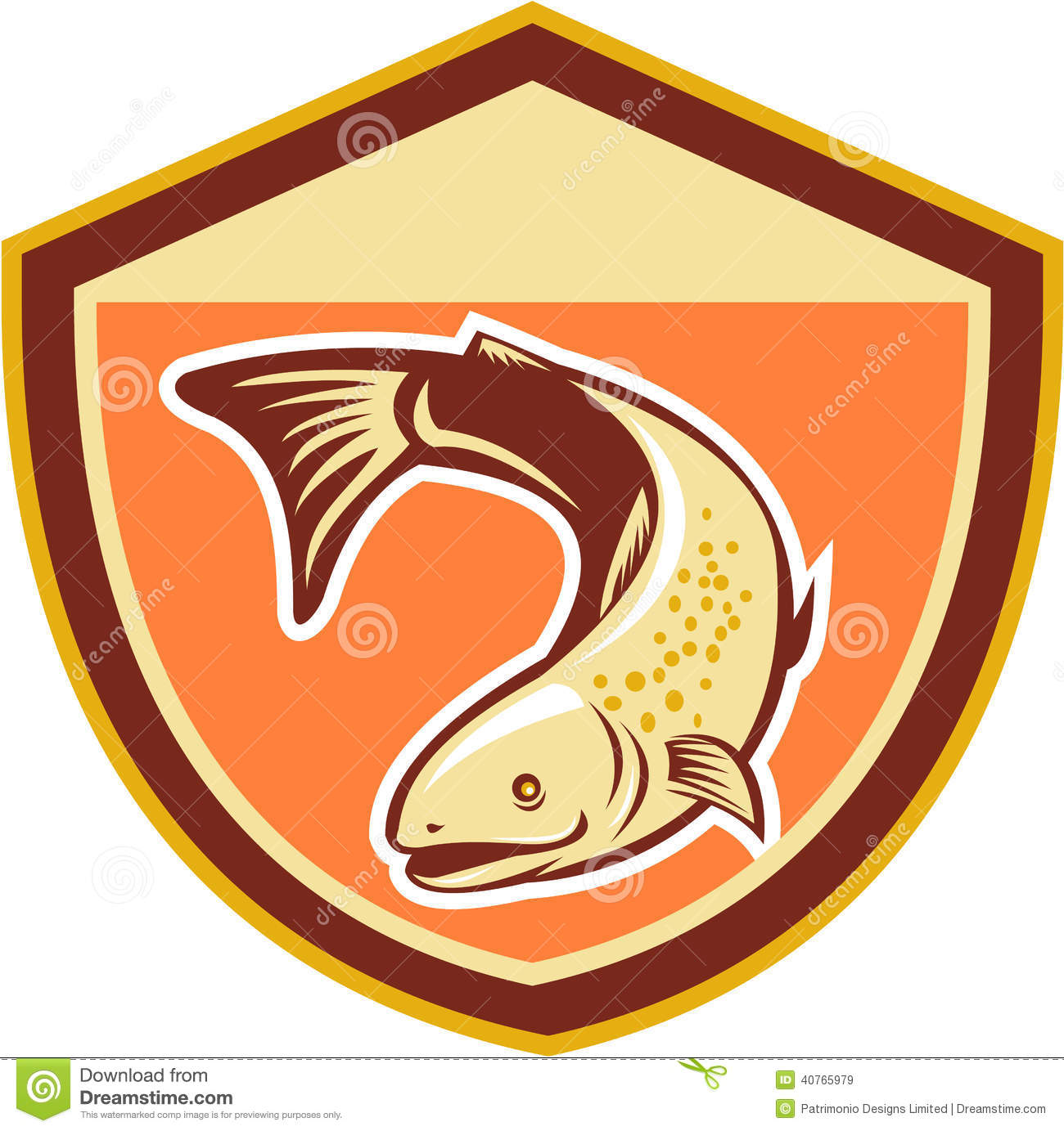 Trout swimming down shield retro stock vector image for Sa fishing face shield review