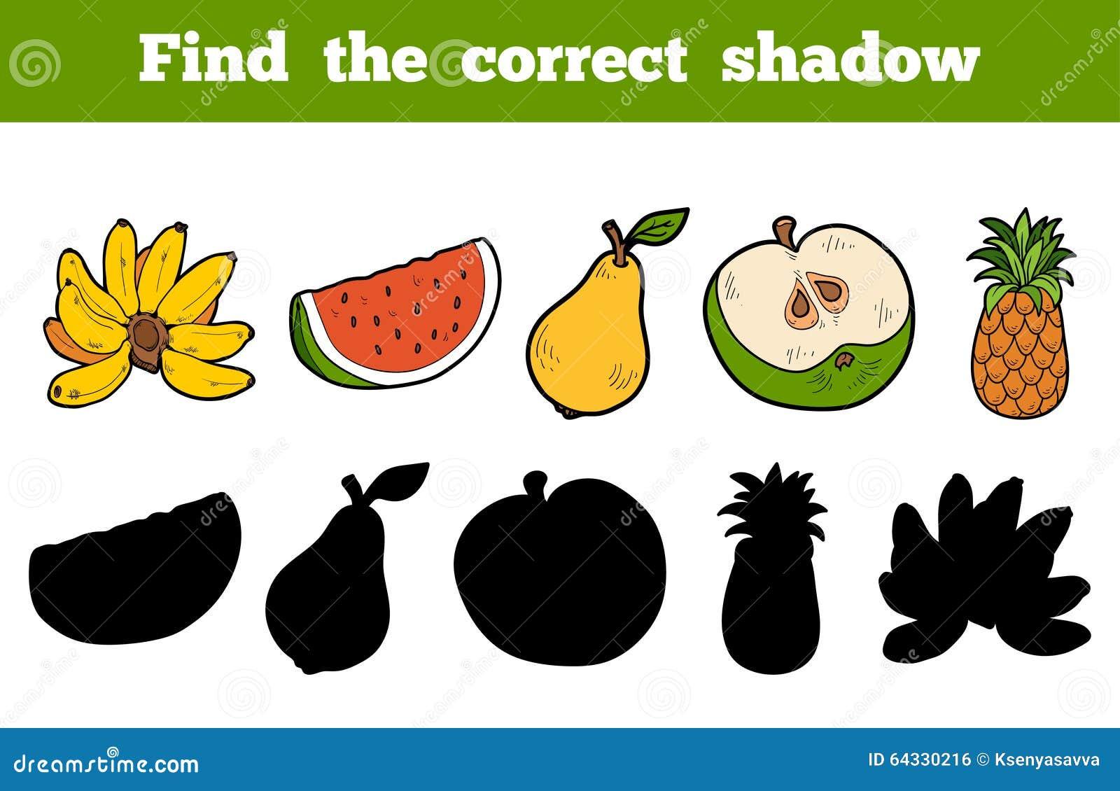 Free Worksheets xl worksheet : Trouvez Lu0026#39;ombre Correcte (les Fruits) Illustration de ...