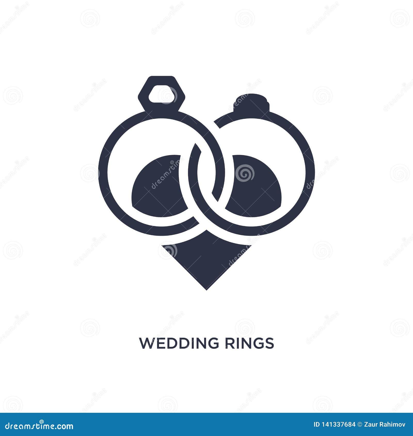 Trouwringenpictogram op witte achtergrond Eenvoudige elementenillustratie van liefde & huwelijksconcept