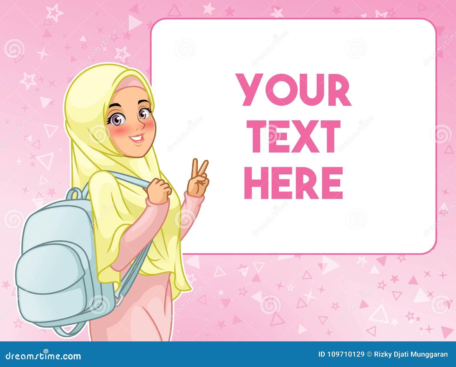 Trouxa guardando alegre muçulmana do estudante de mulher