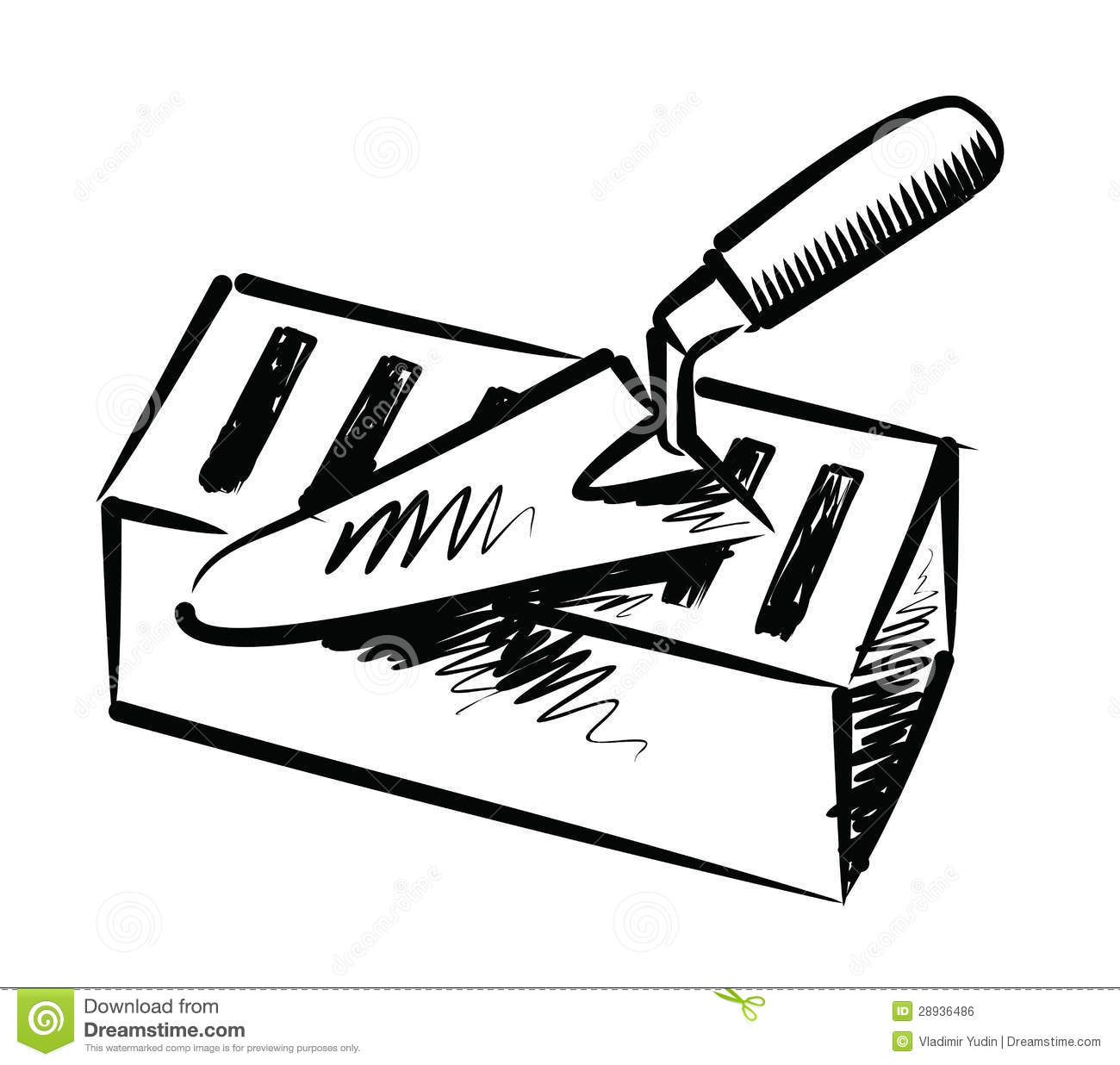 Masonry Trowel Black And White : Trowel and brick stock vector illustration of