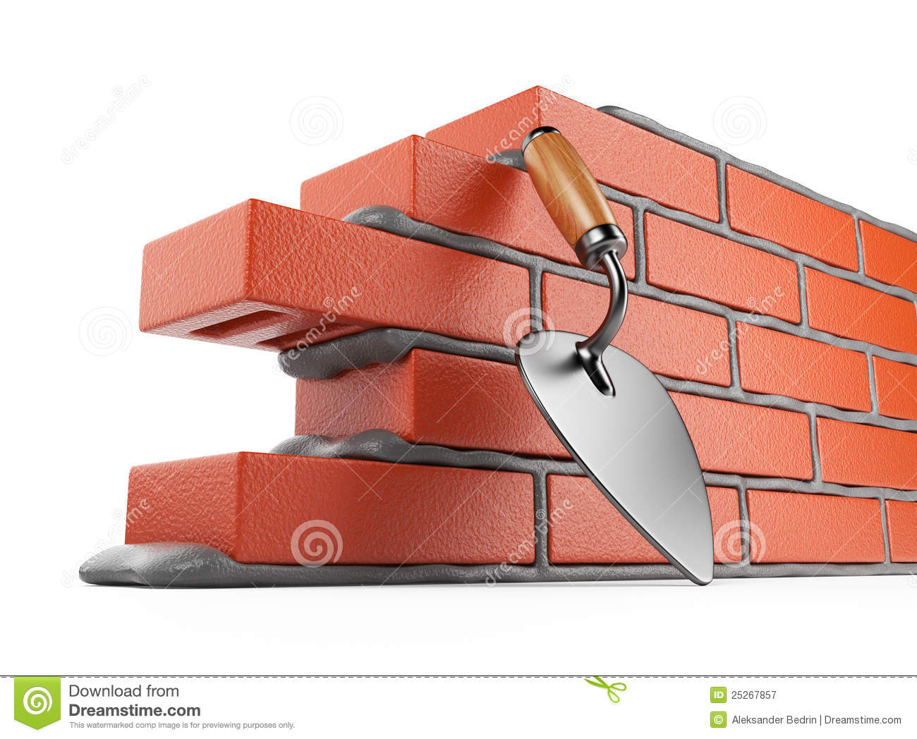 Masonry Trowel Sillouhette : Trowel and bricks wall d work place isolated stock