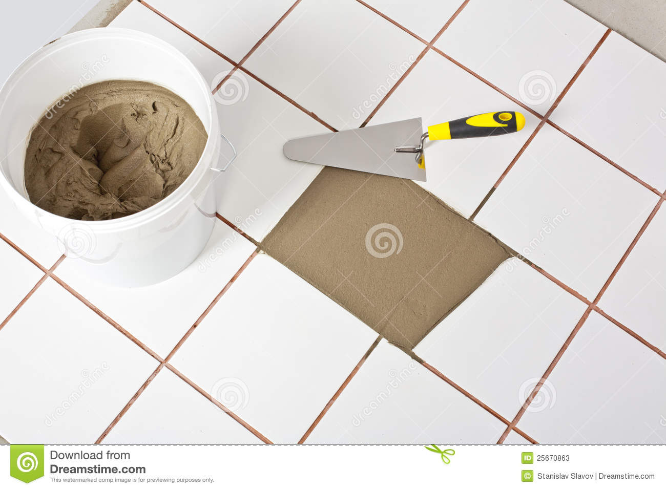 Trowel and old white tiles with tile adhesive stock image image royalty free stock photo dailygadgetfo Gallery