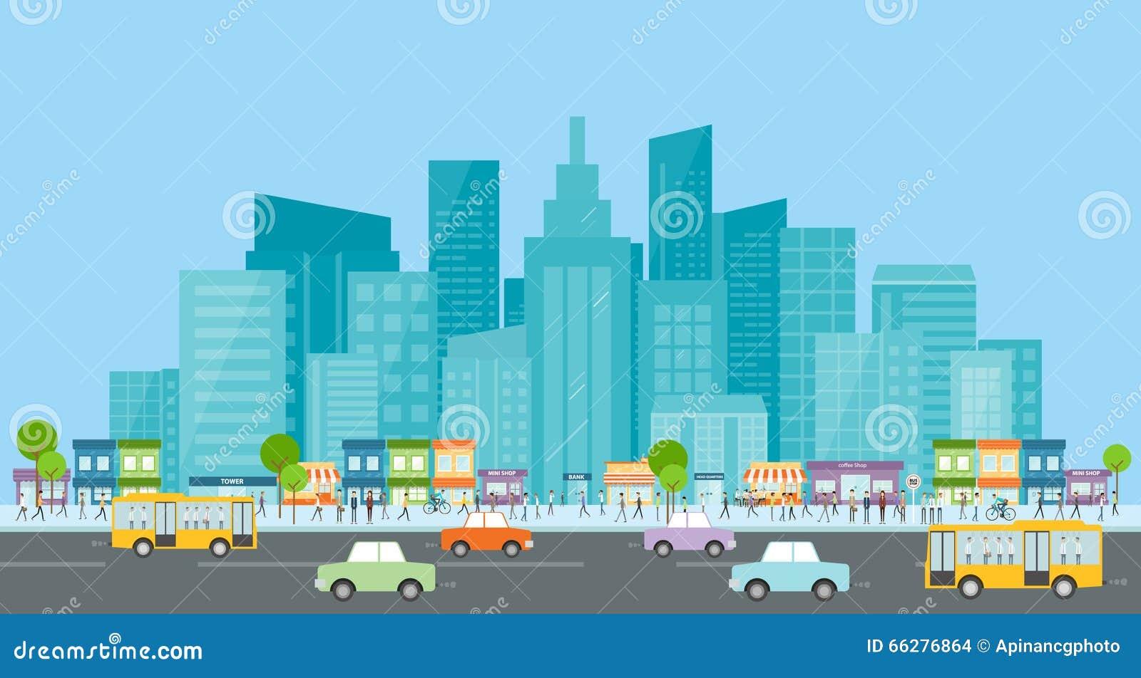 Trraffic的城市 人事务在城市 背景营业通讯概念性例证查出的白色 在街道上的人群 城市生活