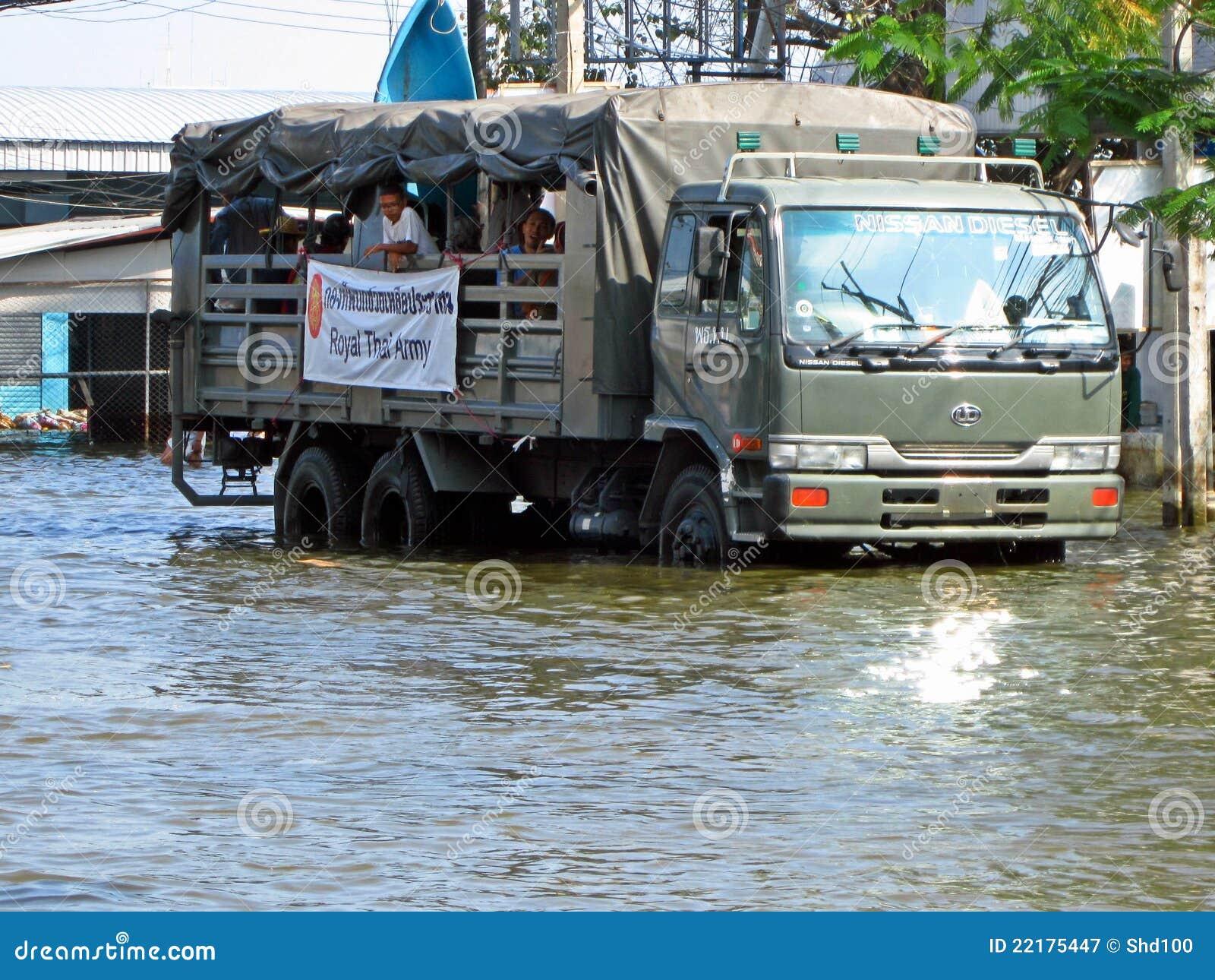 Truck νερών της πλημμύρας στρατ&omic